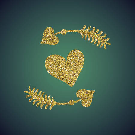 sprite: A glamour brilliant jewelry gold glitter in the form of a hand drawn love heart arrow symbol. Elegant decoration of gold round sequins. A small scattering of circles in the heart shape