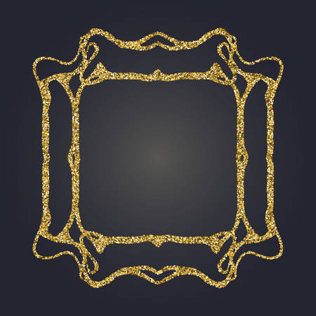 moulding: Art Nouveau jeweled gold glittering vector frame. Art Deco style fine border ornament. Luxurious design. Illustration