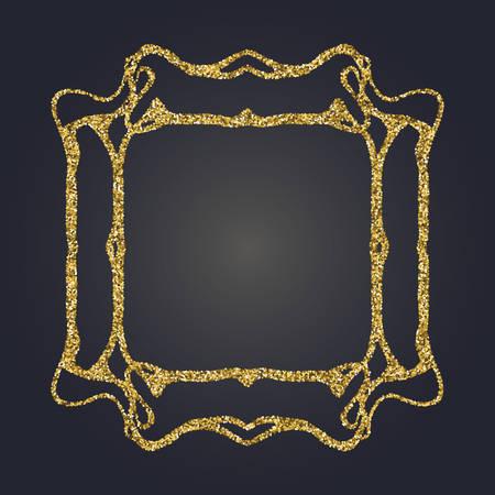 Art Nouveau jeweled gold glittering vector frame. Art Deco style fine border ornament. Luxurious design. Illustration