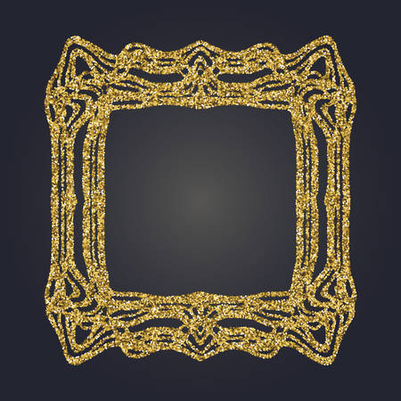 Art Nouveau jeweled gold glittering vector frame. Art Deco style fine border ornament. Luxurious design. Illustration
