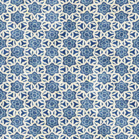 crankle: Native batik watercolor artistic blue and white pattern. Ethnic boho style. Seamless hand drawn tribal square texture.