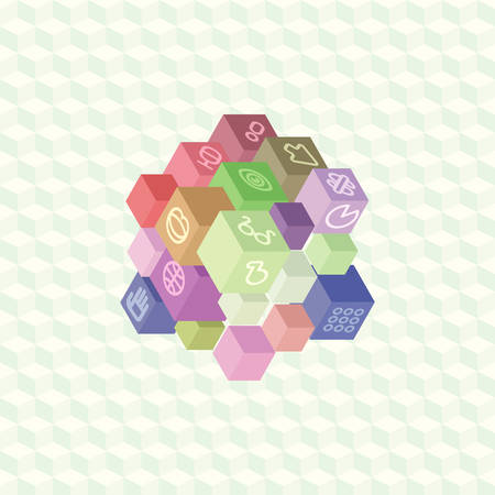 proposition: An array of isometric projection multi-colored cubes with social symbols on the edges for infographic. Flat material design for visual projects and presentations