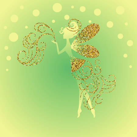 Silhouette of little fairy with jeweled gold glitter fairy dust, wings and dress. Vector pixie girl fantasy character. Luxurious greeting card with fairytale creature on green background