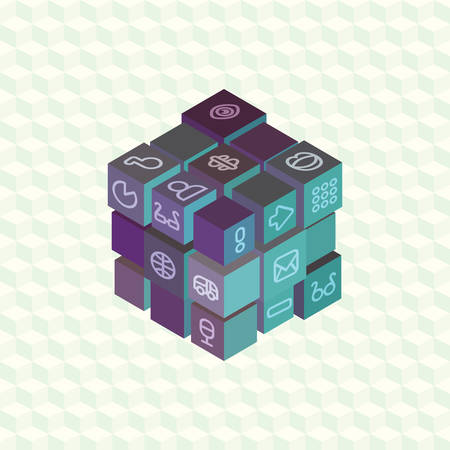 tessera: An array of isometric projection multi-colored cubes with social symbols on the edges for infographic. Flat material design for visual projects and presentations