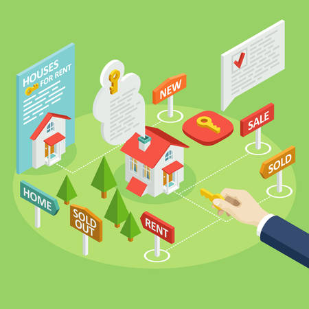 A set of vector isometric projection illustrations for advertising and announcements about the rent or sale of houses, apartments and premises. Flat e-commerce symbols for buy or sell a home Illustration