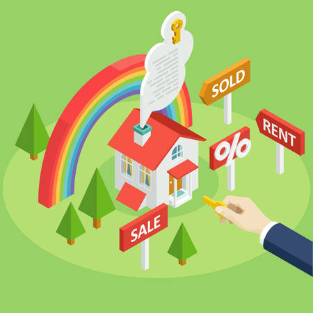 Set of vector isometric projection illustrations for ad and projects about the rent or sale of houses, apartments and premises with rainbow and man hand. Flat e-commerce symbols for buy or sell home Illustration
