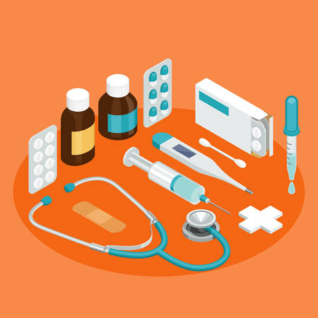 stuff: A set of vector isometric projection illustrations for advertising and announcements about pharmacy and medical items. Flat e-commerce symbols for buy or sell medicine and first aid stuff
