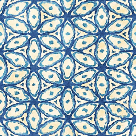 careless: Native batik watercolor artistic blue and white pattern. Ethnic boho style. Seamless hand drawn tribal square texture.