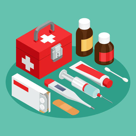 A set of vector isometric projection illustrations for advertising and announcements about pharmacy and medical items. Flat e-commerce symbols for buy or sell medicine and first aid stuff