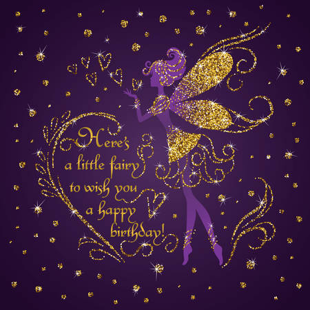 fairy: Silhouette of little fairy with jeweled gold glitter fairy dust, wings and dress. Luxurious greeting card with fairy tale creature on dark purple background
