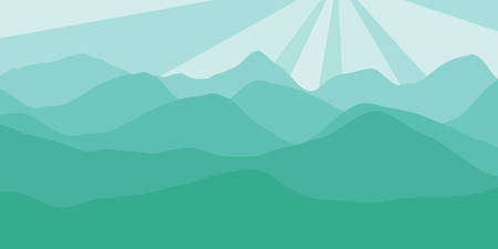Vector panorama with a spacious view of the rising sun due to the mountain ranges. Flat material design style scenery of high hills and a dawn for the banner pattern or a website header