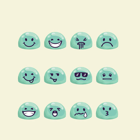 jelly head: Vector set of jelly head with emotion signs. Drops with drawn faces