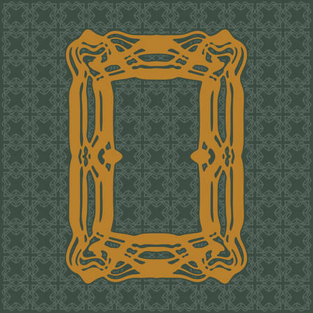moulding: Art Nouveau elegant smooth lines decorative rectangle yellow vector frame for design. Art Deco style fine border ornament