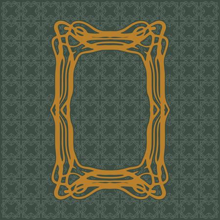Art Nouveau elegant smooth lines decorative rectangle yellow vector frame for design. Art Deco style fine border ornament