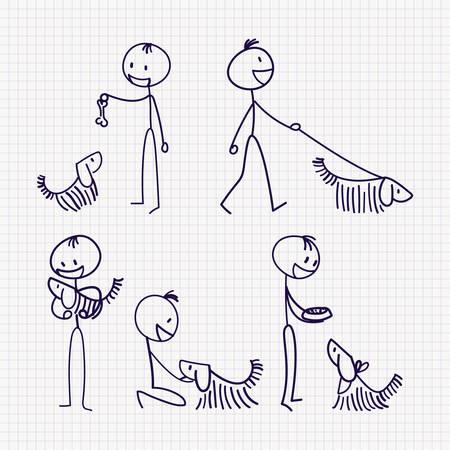 Stick figure dell'uomo con il suo cane con diverse pose di camminare, nutrire, giocare, allenarsi e prendersi cura. Illustrazione vettoriale disegnato a mano