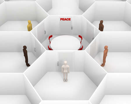 team from behind: Five people with different skin colors standing front of door, around hexagonal closed white room with round table, chairs and closed door with red peace text sign to discuss. 3D Illustration