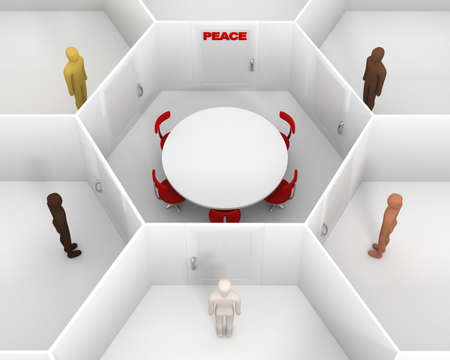 Five people with different skin colors standing front of door, around hexagonal closed white room with round table, chairs and closed door with red peace text sign to discuss. 3D Illustration