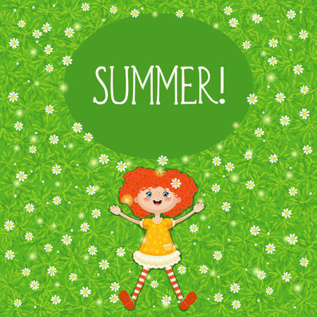 Vector illustration of a little red-haired girl lying in summer on a green sunny meadow with white flowers. A resting joyful child during the summer holidays. EPS10