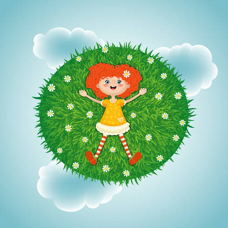 Vector illustration of a little red-haired girl lying in summer on a green sunny meadow with white flowers on sky clouds background. A resting joyful child during the summer holidays. Illustration