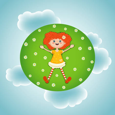 Vector illustration of a little red-haired girl lying in summer on a green sunny meadow with white flowers on sky clouds background. A resting joyful child during the summer holidays. EPS10