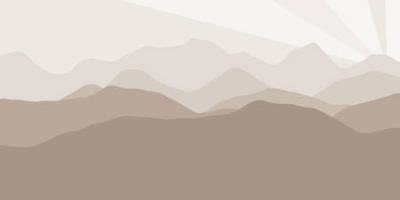 ranges: A Vector panorama with a spacious view of the rising sun due to the mountain ranges. Flat material design style scenery of high hills and a dawn for the banner background or a website header.