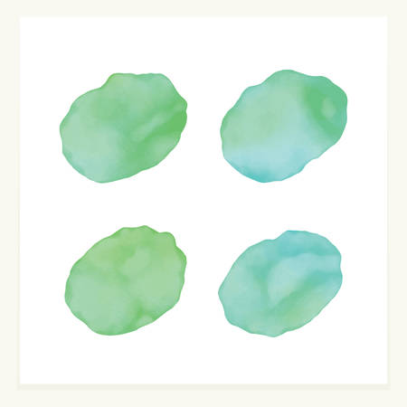 Vector blue and sea green watercolor spots. Stained petals. Hand painted circles collection.