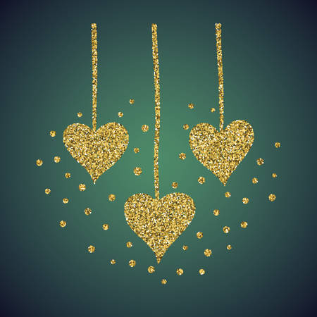 diffuse: A glamour brilliant jewelry gold glittering hand drawn heart symbol. Elegant decoration of love icon. A small scattering gold circles