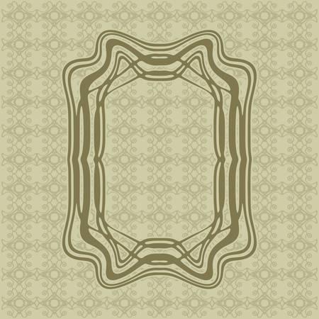 rim: Art Nouveau elegant smooth lines decorative rectangle vector frame for design. Art Deco style fine border ornament Illustration