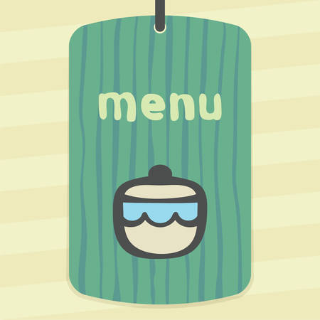 earthenware: Vector outline sugar or jam bowl icon on label with hand drawn striped background. Elements for mobile concepts and web apps. Modern infographic logo and pictogram.