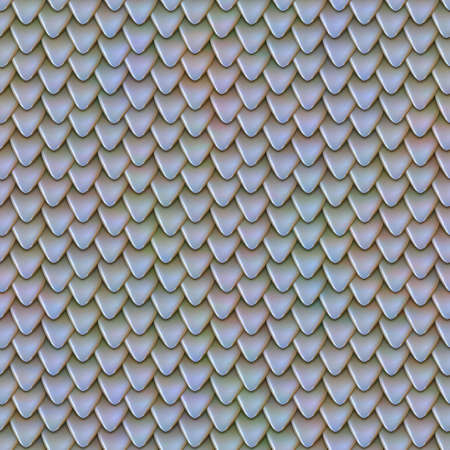 Seamless texture of metallic dragon scales. Reptile skin pattern. Fish scales texture. Shingles roof texture. Background of small triangular reflecting plates Banco de Imagens