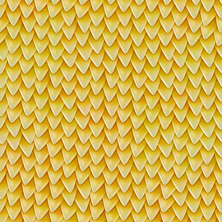 Seamless texture of metallic dragon scales. Reptile skin pattern. Fish scales texture. Shingles roof texture. Background of small triangular reflecting plates Фото со стока