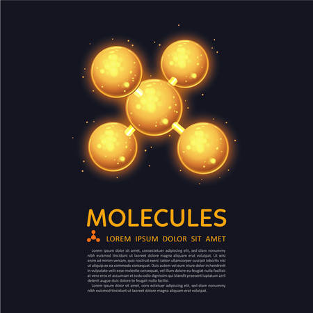 Abstract gold molecules design. Atoms. Medical background for banner or flyer. Molecular structure with glowing yellow spherical particles. Illustration