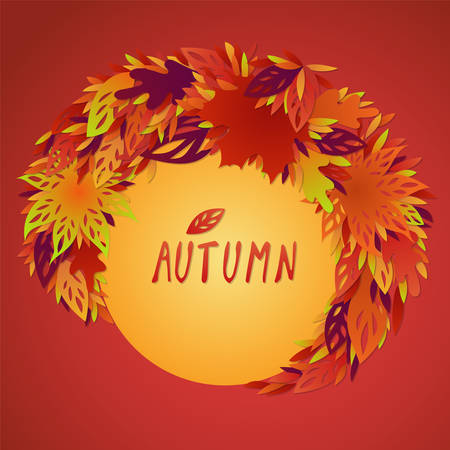 A bundle of bright red, yellow and orange autumn leaves. A frame of autumn leaves around a circle element with a festive text. Autumn design with filigree carved leaves