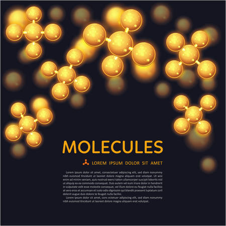 vector nuclear: Abstract gold molecules design. EPS 10 vector illustration. Atoms. Medical background for banner or flyer. Molecular structure with glowing yellow spherical particles. Illustration