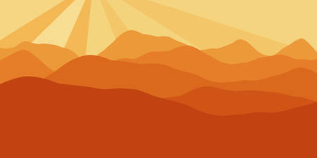 Vector panorama with a spacious view of the rising sun due to the mountain ranges. Flat material design style scenery of high hills and a dawn for the banner background or a website header