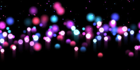 Seamless glow bokeh spray background. Abstract colorful horizontal hero header with glitter particles with depth of field effect Stock Photo