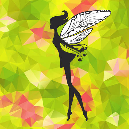 sprite: Silhouette of little fairy with wings on a nateure abstract . pixie girl fantasy character. Cartoon fairytale creature on a green