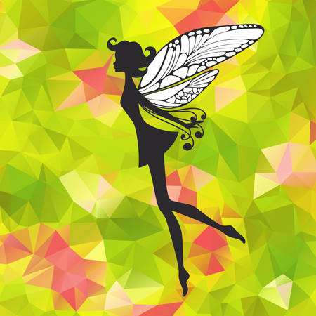 Silhouette of little fairy with wings on a nateure abstract . pixie girl fantasy character. Cartoon fairytale creature on a green
