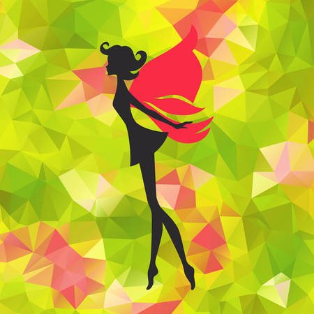 Silhouette of little fairy with wings on a nateure abstract triangle background. Vector pixie girl fantasy character. Cartoon fairytale creature on a green background
