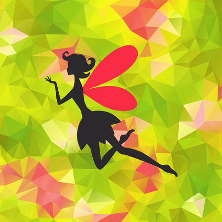 faerie: Silhouette of little fairy with wings on a nateure abstract triangle background. Vector pixie girl fantasy character. Cartoon fairytale creature on a green background