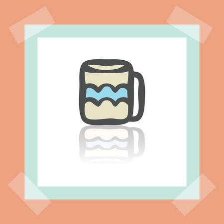 earthenware: Vector outline tee or coffee cup icon on white sticker. Elements for mobile concepts and web apps. Modern infographic logo and pictogram.
