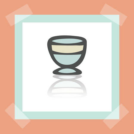 earthenware: Vector outline ice cream bowl icon on white sticker. Elements for mobile concepts and web apps. Modern infographic logo and pictogram. Illustration