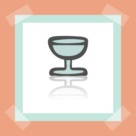 earthenware: Vector outline wine glass goblet icon on white sticker. Elements for mobile concepts and web apps. Modern infographic logo and pictogram.