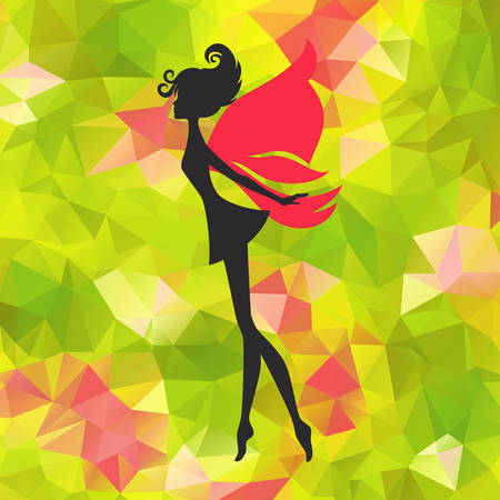 Silhouette of little fairy with wings on a nature abstract  pixie girl fantasy character.