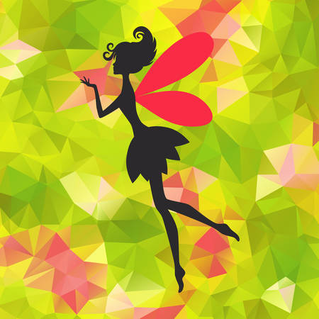 Silhouette of little fairy with wings on a nature abstract