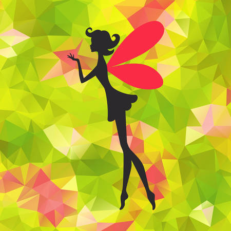 Silhouette of little fairy with wings on a nature abstract.