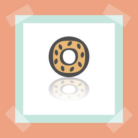 pone: Donut icon in a frame. Illustration