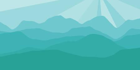 山の範囲による日の出の広々とした景色を持つベクトルパノラマ。