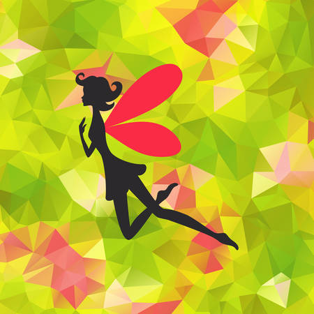 Silhouette of little fairy with wings on a nature abstract illustration. Illustration