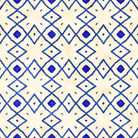winter fashion: Native batik watercolor artistic blue and white pattern. Ethnic boho style. Seamless hand drawn tribal square texture Stock Photo